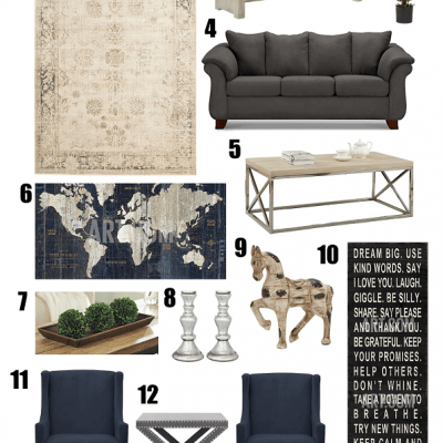 Navy Blue and Silver Living Room