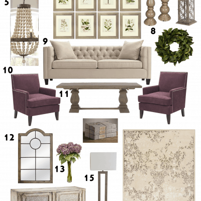 Purple Vintage Chic Living Room