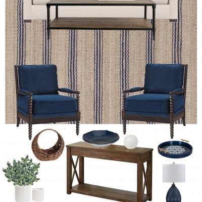 Navy Blue Traditional Living Room