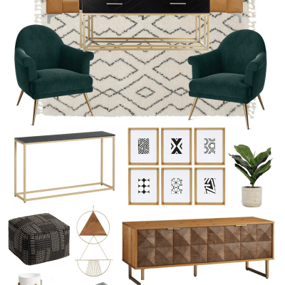 Living Room with Earth Tones and a hint of Boho Chic